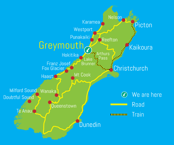 Map New Zealand South Island.West Coast New Zealand Accommodation Travel Bookings Tranzalpine Train